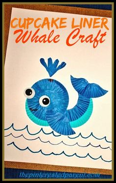 Cupcake liner whale craft