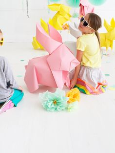 DIY Giant Origami Bunnies | Oh Happy Day!