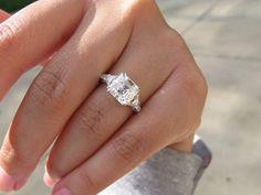 3.00ct antique Asscher cut diamond, L color, VS2 clarity, set in a Leon Mege 5 stone.