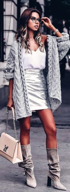 women's gray and white spaghetti strap bodycon mini dress with gray knitted coat Adrette Outfits, Winter Dress Outfits, Preppy Outfits, Spring Outfits, Fashion Outfits, Dress Winter, Fashion Clothes, Holiday Outfits, Work Outfits