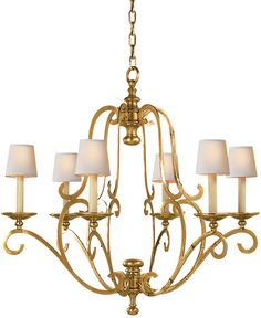 PIEDMONT 6-LIGHT CHANDELIER, nice finish-antique burnished brass