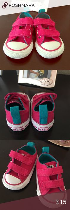 Baby size 2 converse Baby converse.  Pink and turquoise with Velcro straps.  Baby is 9 1/2 months and her feet are too big.  Says size 2 in shoe but not sure what size that is for babies.  Never worn Converse Shoes Sneakers