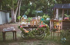 cart dessert table. Placing some furniture on other pieces of furniture.