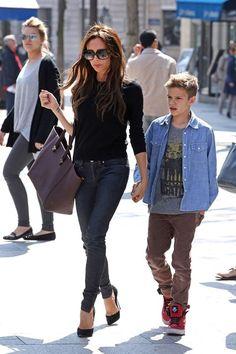 Victoria Beckham and son Romeo at Paris