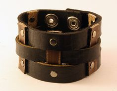 La-Riga Genuine Leather Double-Tone Bracelet