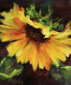 "Daily Paintworks - ""Double Take Sunflower by Floral Artist Nancy Medina"" - Original Fine Art for Sale - © Nancy Medina"