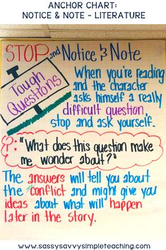 Notice and Note Anchor Chart for Literature texts. This anchor chart is a great visual tool when using the Notice and Note strategies to improve reading comprehension. Help your students comprehend literature texts. Improve Reading Comprehension, Reading Strategies, Reading Activities, Reading Skills, Writing Skills, Cloze Reading, Teaching Reading, Kindergarten Writing, Teaching Ideas