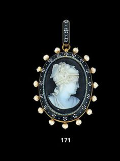 A hardstone cameo, enamel and seed pearl pendant by Carlo Giuliano.