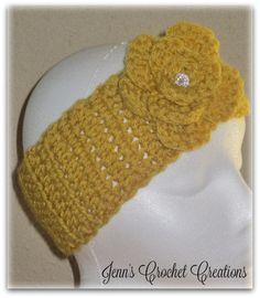 Ladies Dark Yellow Ear Warmer Dark Yellow by JennCrochetCreations