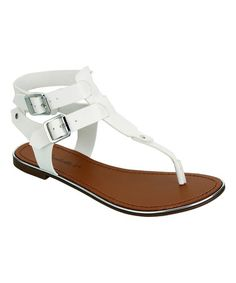 ef4444623fb747 Breckelle s White Buckle Jovie Sandal