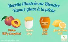 Yaourt glacé à la pêche maison ! Réalisez avec votre Blender de délicieux yaourt glacés à la pêche en quelques minutes. Ingrédients : 450g de pêches congelées, 60 de yaourt nature, 2 cuillères à soupe de miel, 1 cuillère à soupe de jus de citron.
