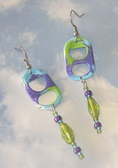 Purple/Turquoise/Kiwi Pop Tab Earrings by Cheryl's Art Box, via Flickr