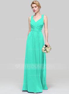 [£ A-Line/Princess V-neck Floor-Length Chiffon Bridesmaid Dress With Ruffle Lace - JJ's House Wedding Party Dresses, Bridesmaid Dresses, Prom Dresses, Formal Dresses, Green Bridesmaids, Bridesmaid Ideas, Chiffon, Special Occasion Dresses, Fashion Dresses