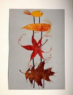 Rebekka's craft room: Fall leaf animals / Animaux en feuilles d'automne