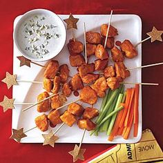 Yummy Buffalo Chicken Skewers win points for flavor and presentation--making it the perfect appetizer for your next gathering. Use leftover chicken in a sandwich or wrap for lunch the next day.