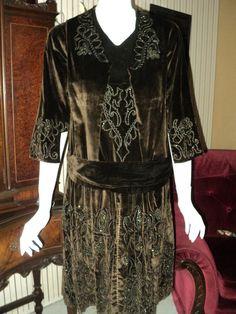 Edwardian Silk Velvet Gown Dress hand beaded by Bellasoiree, $450.00