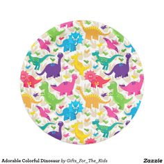 Adorable Colorful Dinosaur 7 Inch Paper Plate