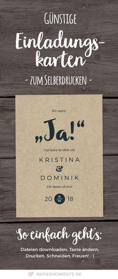 Günstige Hochzeitseinladung im Kraftpapierlook / Rustikalem Stil. Zum Selberdrucken