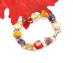 Vintage Glass Stone Bracelet, Faux Gemstone Bracelet, Multi-Colored Colorful Bracelet, Silver Chain Bracelet, 1970s Autumn Fall Jewelry by AVintageJewelryChest, $19.00