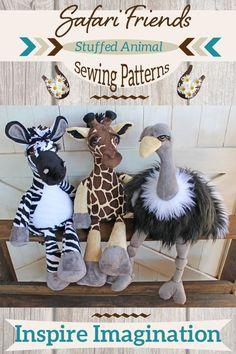 In these sewing patterns and tutorials you will learn how to make these adorable stuffed animals in a step by step format. Each step is accompanied by photos and they are deceptively easy to make. Handmade gifts are treasured heirlooms. Diy Sewing Projects, Sewing Crafts, Craft Projects, Sewing Stuffed Animals, Cute Stuffed Animals, Animal Sewing Patterns, Easy Sewing Patterns, Soft Toys Making, Hobby Horse