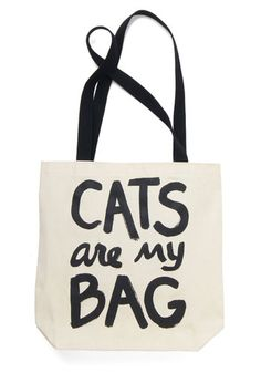 Feline Fanatic Tote. All cat-lovers agree - this tan tote bag is one playful way to display affection for your pet! #cream #modcloth