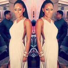 Keri Hilson hasn't been in the limelight as of late, but she showed out as she attended a party at Krave Nightclub in her hometown Atlanta. Keri Hilson, Box Braids Styling, Love Your Hair, Cocktail Gowns, Beautiful Braids, My Black Is Beautiful, Beautiful People, Hair Shows, Hair Affair