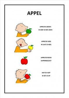 versje appel - Google Search Very Hungry Caterpillar, Love My Job, Fruits And Vegetables, Preschool, Yummy Food, Teaching, Songs, Activities, Education