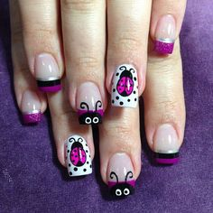 Lady Bugs by NailsliciousSpa - Nail Art Gallery by Nails Magazine Get Nails, Fancy Nails, Hair And Nails, Nails For Kids, Girls Nails, Spring Nail Art, Spring Nails, Summer Nails, Ladybug Nails
