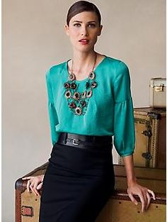 my emerald green blouse and black pencil skirt