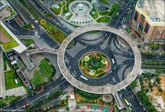 Circular Walkway in Shanghai's Pudong the Financial District China