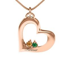 "Rose Gold ""Cradle"" Tilted Heart #Birthstone #Pendant"