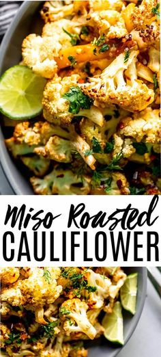 Miso Cauliflower is a delicious and healthy side dish. Cauliflower is tossed in a glaze of miso, soy and red pepper flakes then roasted until perfectly browned and crisp. Asian Side Dishes, Healthy Side Dishes, Side Dish Recipes, Asian Recipes, Vegetable Side Dishes, Vegetable Recipes, Vegetarian Recipes, Cooking Recipes, Healthy Recipes