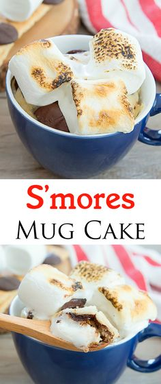S'mores Mug Cake. Single serving cake cooks in the microwave in one minute! S'mores Mug Cake Single Serve Cake, Single Serve Desserts, Single Serving Recipes, Köstliche Desserts, Delicious Desserts, Yummy Food, Microwave Mug Recipes, Mug Cake Microwave, Microwave Cookware