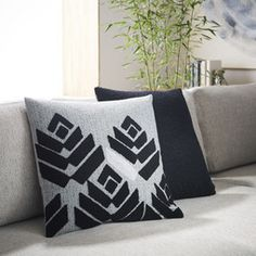Flower Buds Cushion Cover - Black/Silver