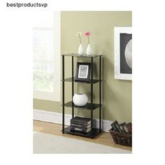 #Ebay #Modern #Black #Glass #Shelf #Stainless #Steel #4 #Tier #Bathroom #Book #Freestanding #Decor #ConvenienceConcepts #Modern