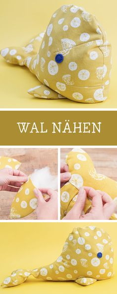Nähanleitung für diesen absolut niedlichen Türstopper in Walform / diy sewing inspiration: door stop in shape of a whale via DaWanda.com