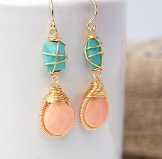 Coral and Turquoise Dangle Earrings, Bezel Set Earrings, Wire Wrapped Earrings  Not that fond of the style itself but these are my two favorite color together in my one favorite accessory!
