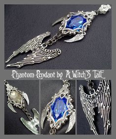 """Phantom Pendant"" by A Witch's Tale Instagram: https://www.instagram.com/awitchstale/   #jewels #phantom #pendant #awitchstale #swarovski #gemstone #craft #witch #amulet #wings #accessory #silver #crystal #gothic #dark #necklace"