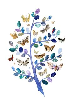 Moth tree by Helen Cann.  Mixed media.