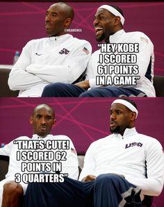 Kobe Bryant and LeBron James Funny Nba Memes, Funny Basketball Memes, Basketball Quotes, Basketball Legends, Love And Basketball, Sports Basketball, Basketball Players, Kobe Memes, Basketball Workouts
