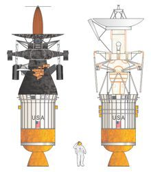 Illustration showing the Magellan and Galileo spacecraft attached to their Inertial Upper Stage (IUS) rockets. .