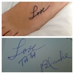 """Love"" in my grandmother's handwriting.   #tattoo"