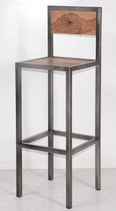 """Tabouret de bar industriel en métal et bois 'Industry"""" - 6748"""
