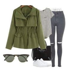 To find out about the Army Green Long Sleeve Casual Trench Coat at SHEIN, part of our latest Outerwear ready to shop online today! Outfits For Teens, Stylish Outfits, Cool Outfits, Coats For Women, Clothes For Women, Estilo Fashion, Fall Wardrobe, Army Green, Jeans