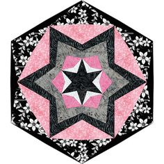 Alisa. Layered star in hexagon quilt pattern by QuiltessaNatalie