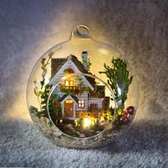 DIY Wooden Dollhouse Miniature Kit w/ LED and Voice control Forest house Dollhouse Toys, Wooden Dollhouse, Dollhouse Miniatures, Christmas Crafts, Christmas Bulbs, Christmas Decorations, Holiday Decor, Hanging Glass Terrarium, Led Diy
