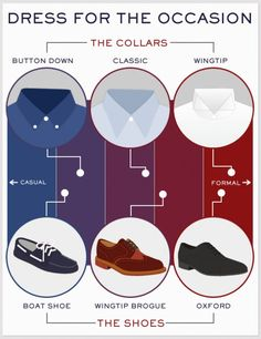 Men's Style Basics: Dress for the Occasion.  What shirt and shoes to wear.---> FOLLOW US ON PINTEREST for Style Tips, Men's Basics, Men's Essentials on anything, OUR SALES etc... ~ VujuWear