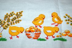 Cute German Vintage Easter Tablecloth  - little chicks with eggs - from 1950's