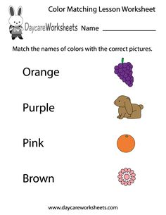 Preschoolers have to match the names of colors with the correct pictures in this free printable worksheet.