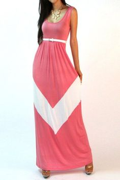 Bohemian U Neck Color Block Dress For Women
